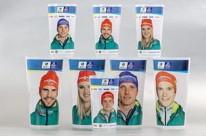 Reusable cups with athletes