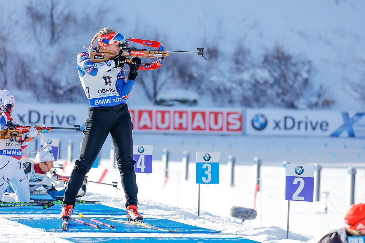 Biathlete in standing shooting