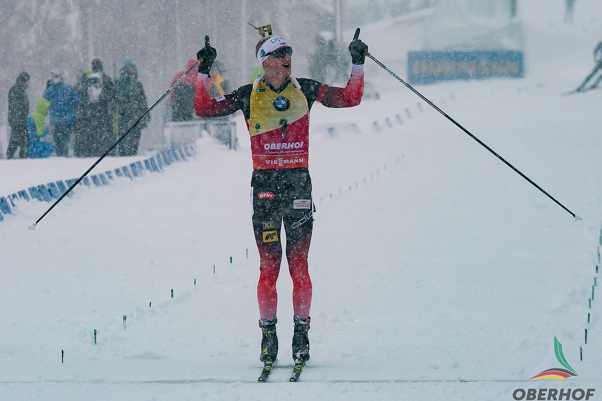 Johannes Thingnes Boe at the finish